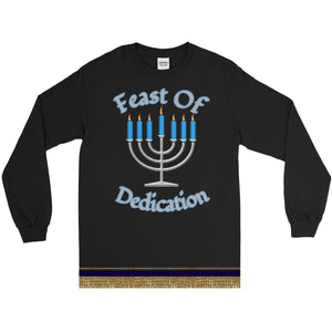 Long Sleeve Israelite Feast Of Dedication T-shirt With Gold Fringes