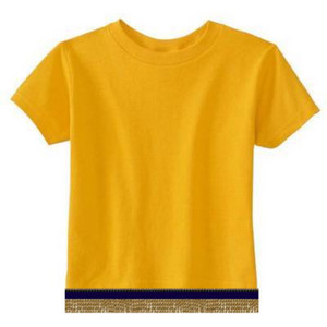 Short Sleeve Toddler Girls & Boys Yellow Gold T-shirt With Fringes