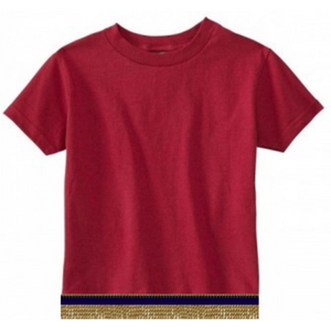 Infant Baby Girls & Boys Burgundy Short Sleeve T-shirt With Fringes