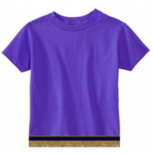 Short Sleeve Toddler Boys & Girls Purple T-shirt With Fringes