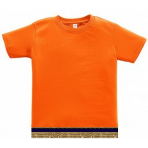 Infant Baby Girls & Boys Orange Short Sleeve T-shirt With Fringes