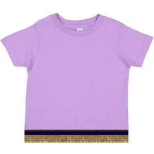 Short Sleeve Toddler Girls Light Lilac Purple T-shirt With Fringes