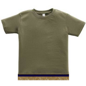Short Sleeve Toddler Boys & Girls Military Green T-shirt With Fringes