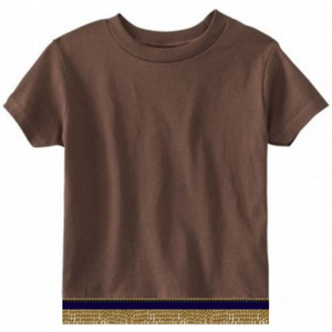 Short Sleeve Toddler Girls & Boys Brown T-shirt With Fringes