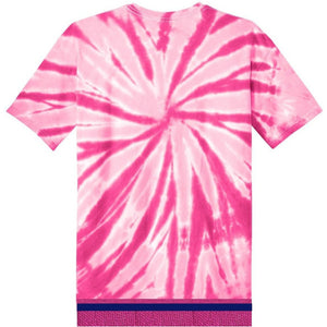 Youth Tie Dye Short Sleeve Hot Pink T-shirt With Hot Pink Fringes