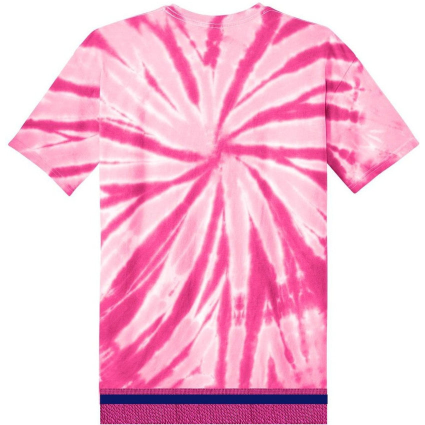 Women's Tie Dye Short Sleeve Hot Pink T-shirt With Hot Pink Fringes