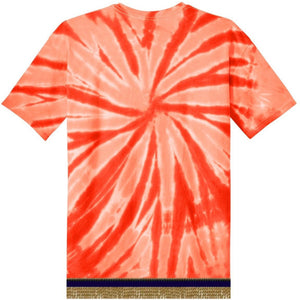 Youth Tie Dye Short Sleeve Orange T-shirt With Gold Fringes