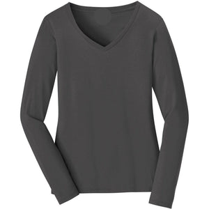 V-neck Long Sleeve Women's Charcoal T-shirt With Fringes