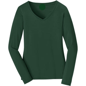 V-neck Long Sleeve Women's Forest Green T-shirt With Fringes