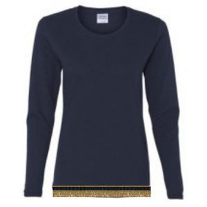 Long Sleeve Women's Navy Blue T-shirt With Fringes
