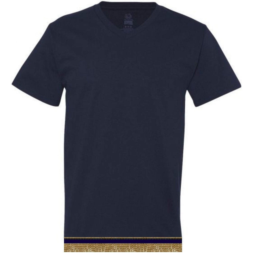 V-Neck Adult Navy Blue Short Sleeve T-shirt With Fringes