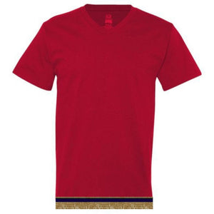 Adult V-Neck Red Short Sleeve T-shirt With Fringes