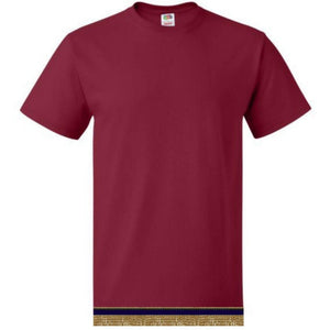 Short Sleeve Adult Burgundy T-shirt With Fringes