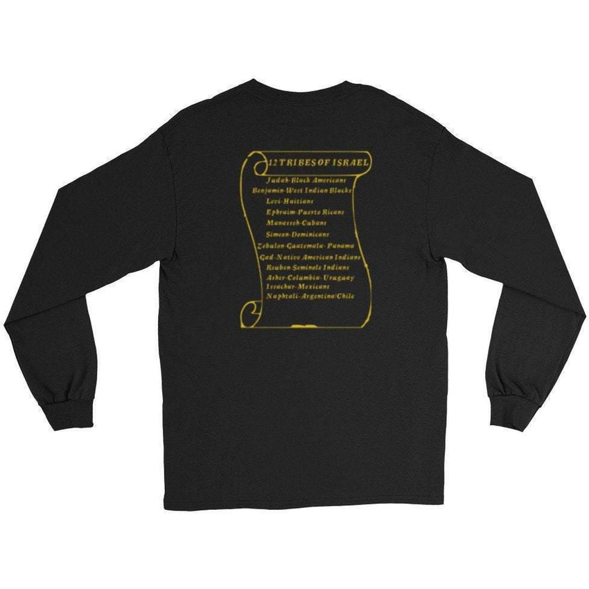 12 Tribes Of Israel Front & Back Design Long Sleeve T-shirts With Fringes