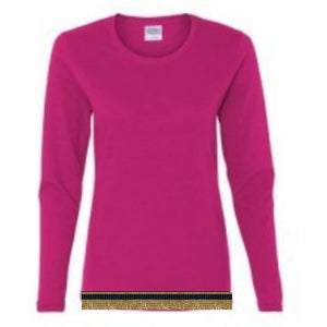 Long Sleeve Women's Hot Pink T-shirt With Fringes