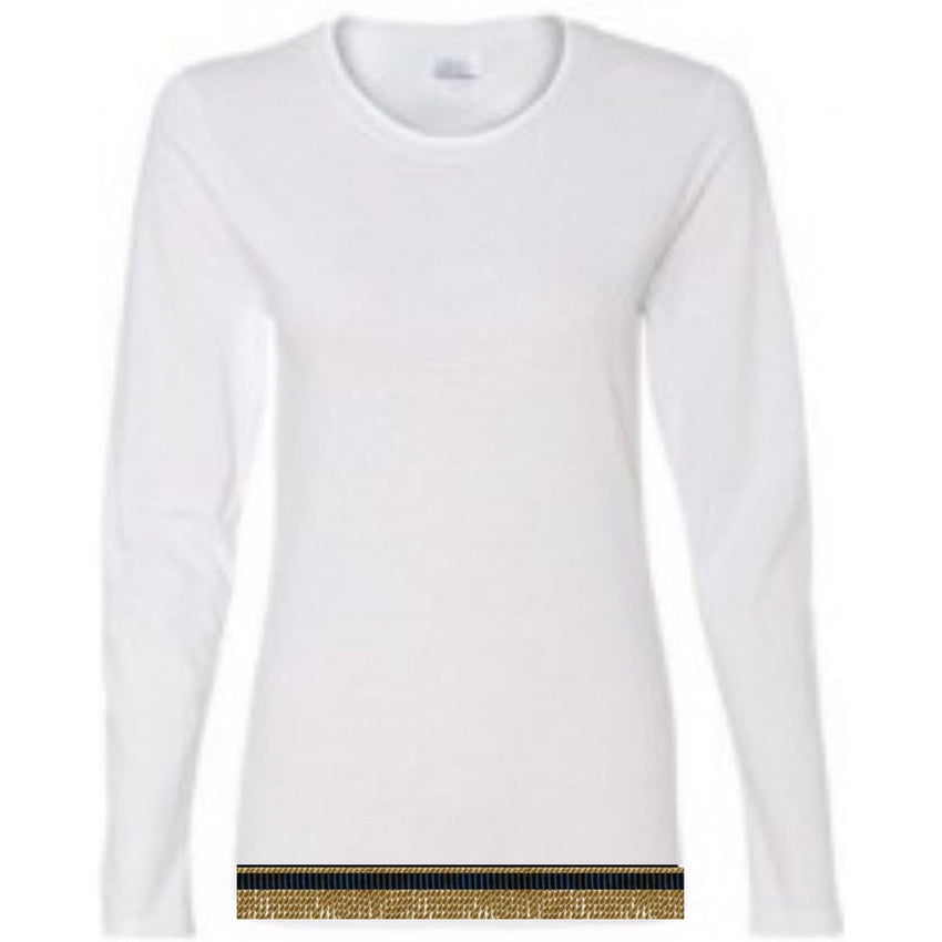 Long Sleeve Women's White T-shirt With Fringes