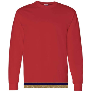 Adult Bright Red Long Sleeve T-shirt With Fringes