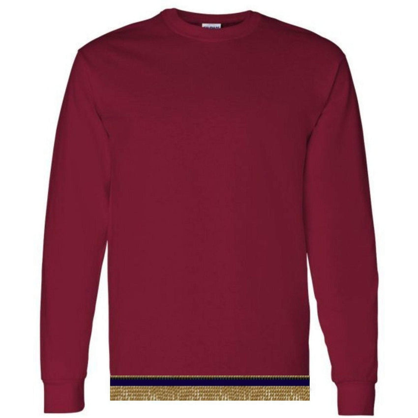 Long Sleeve Youth Boys & Girls Burgundy T-shirt With Fringes