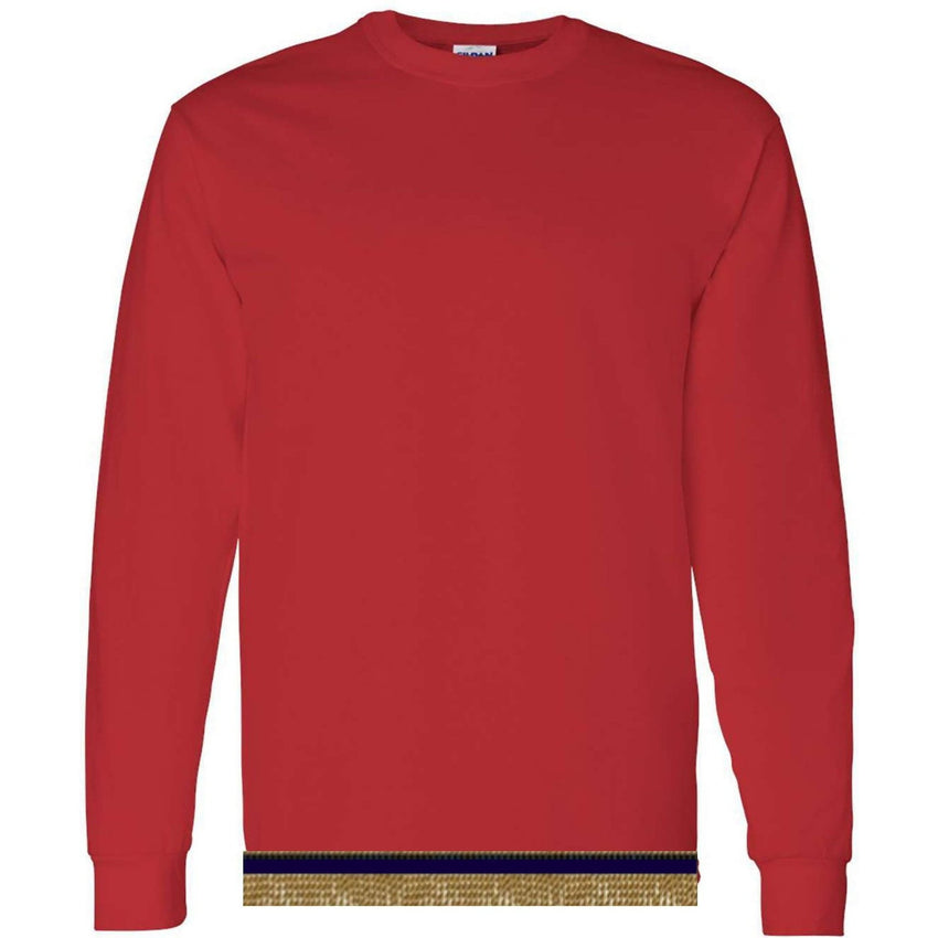 Long Sleeve Youth Boys & Girls Bright Red T-shirt With Fringes