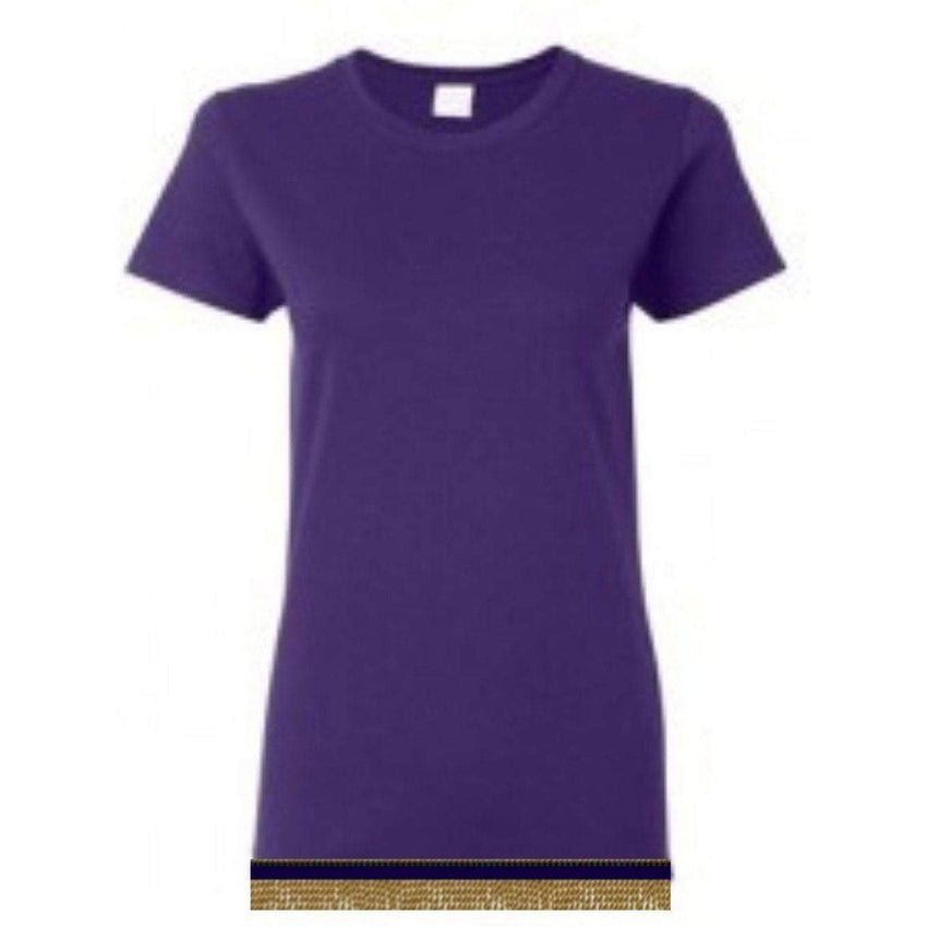 Short Sleeve Women's Purple T-shirt With Fringes