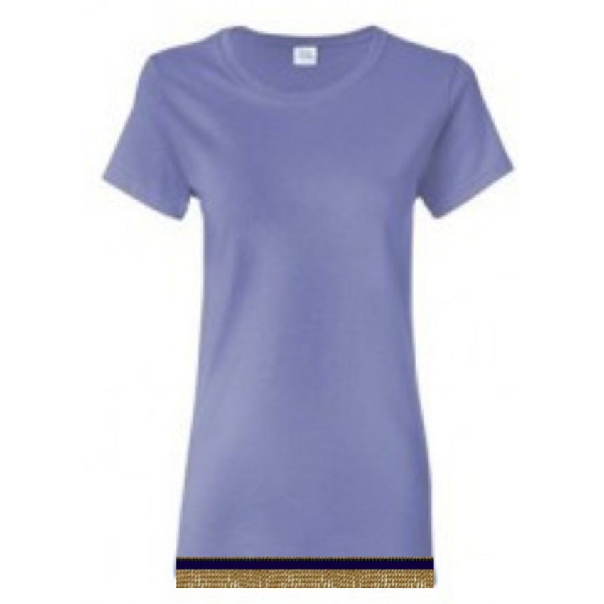 Short Sleeve Women's Violet T-shirt With Fringes