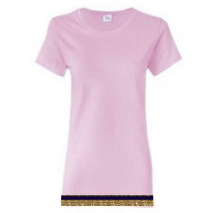 Short Sleeve Women's Light Pink T-shirt With Fringes