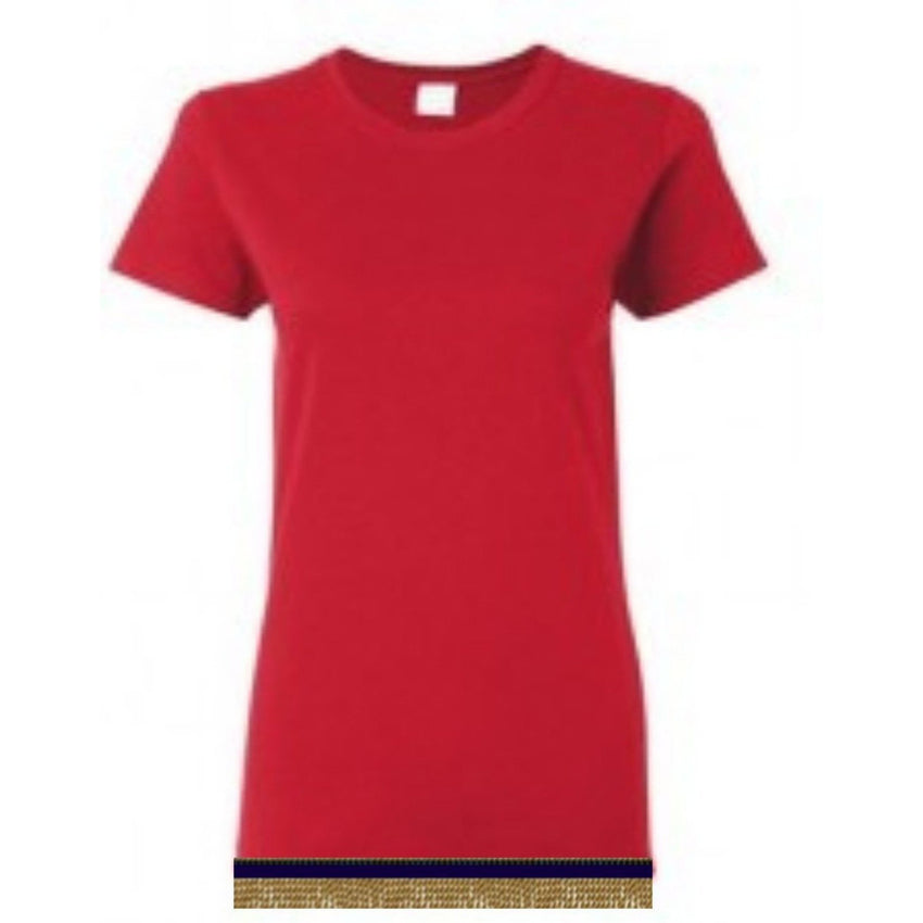 Short Sleeve Women's Bright Red T-shirt With Fringes
