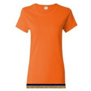Short Sleeve Women's Orange T-shirt With Fringes