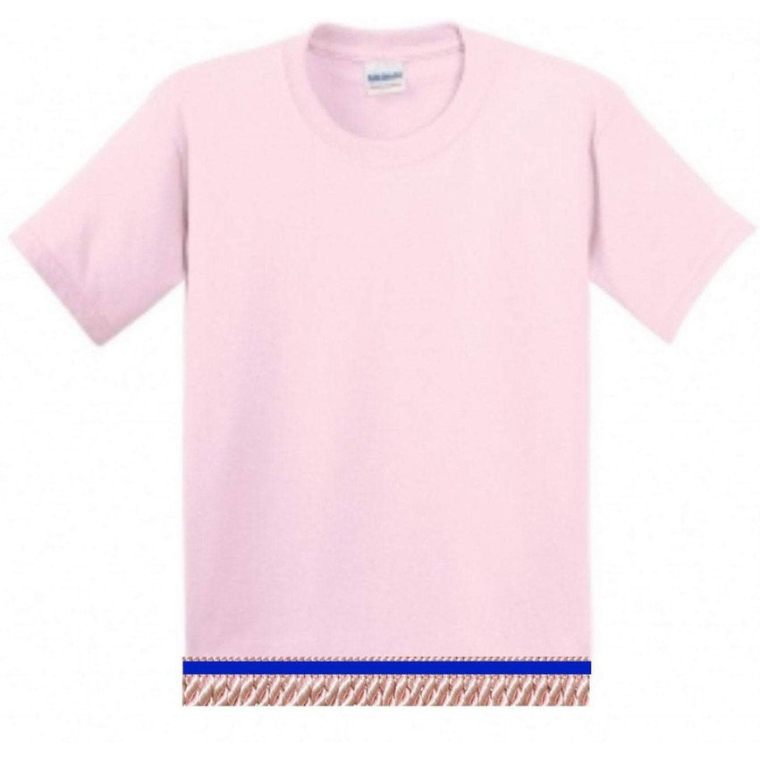 Short Sleeve Youth Girls Light Pink T-shirt With Fringes