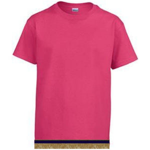 Short Sleeve Toddler Girls Hot Pink T-shirt With Fringes