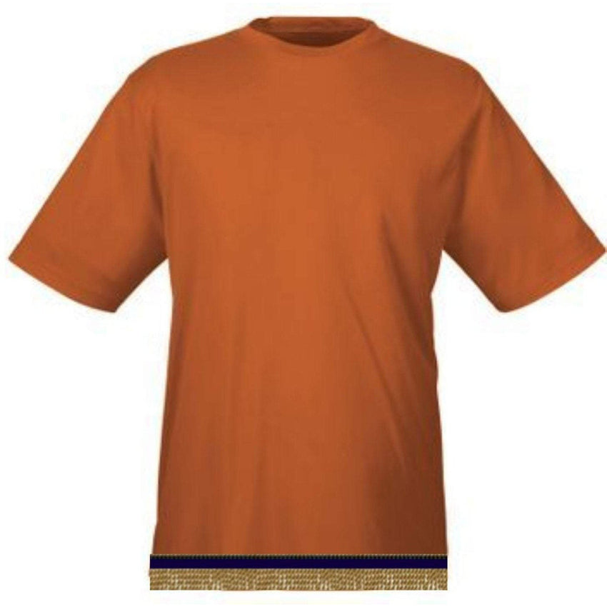Dark Orange Workout Performance T-shirt With Fringes