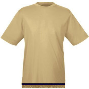 Performance Light Gold Workout T-shirt With Fringes