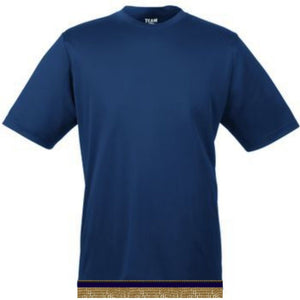 Navy Blue Workout Performance T-shirt With Fringes