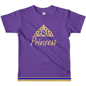 Youth Girls Israelite Princess Short Sleeve T-shirt With Light Gold Fringes