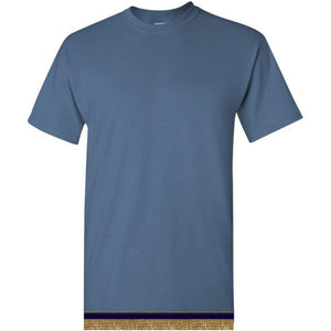 Short Sleeve Adult Indigo Blue T-shirt With Fringes