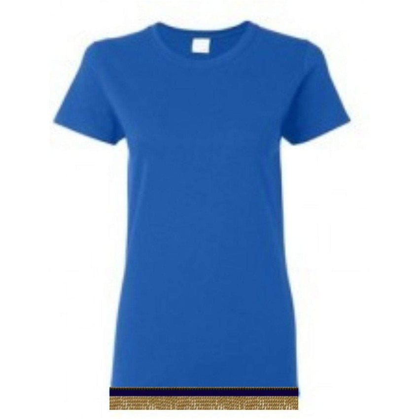 Short Sleeve Women's Royal Blue T-shirt With Fringes