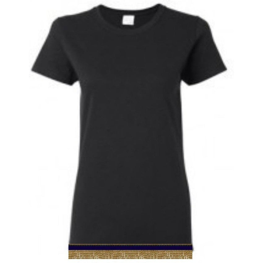 Short Sleeve Women's Black T-shirt With Fringes