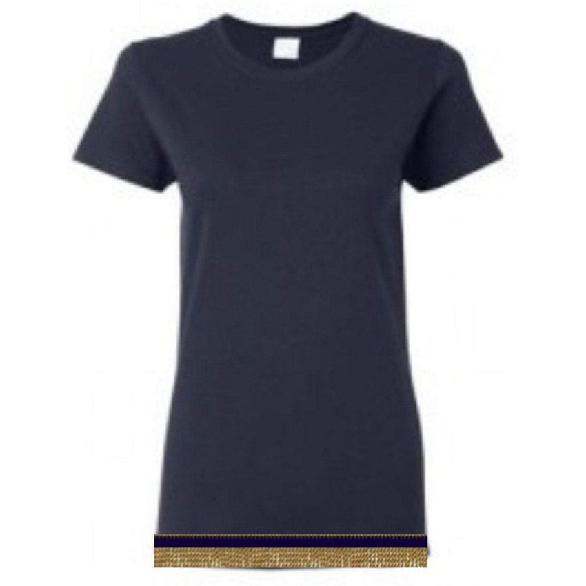 Short Sleeve Women's Navy Blue T-shirt With Fringes
