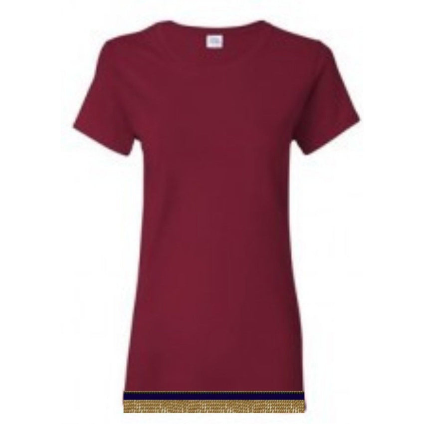 Short Sleeve Women's Cherry Red T-shirt With Fringes