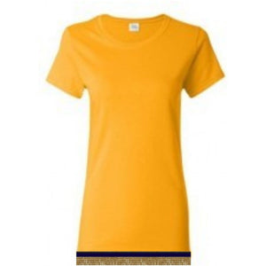 Short Sleeve Women's Yellow Gold T-shirt With Fringes