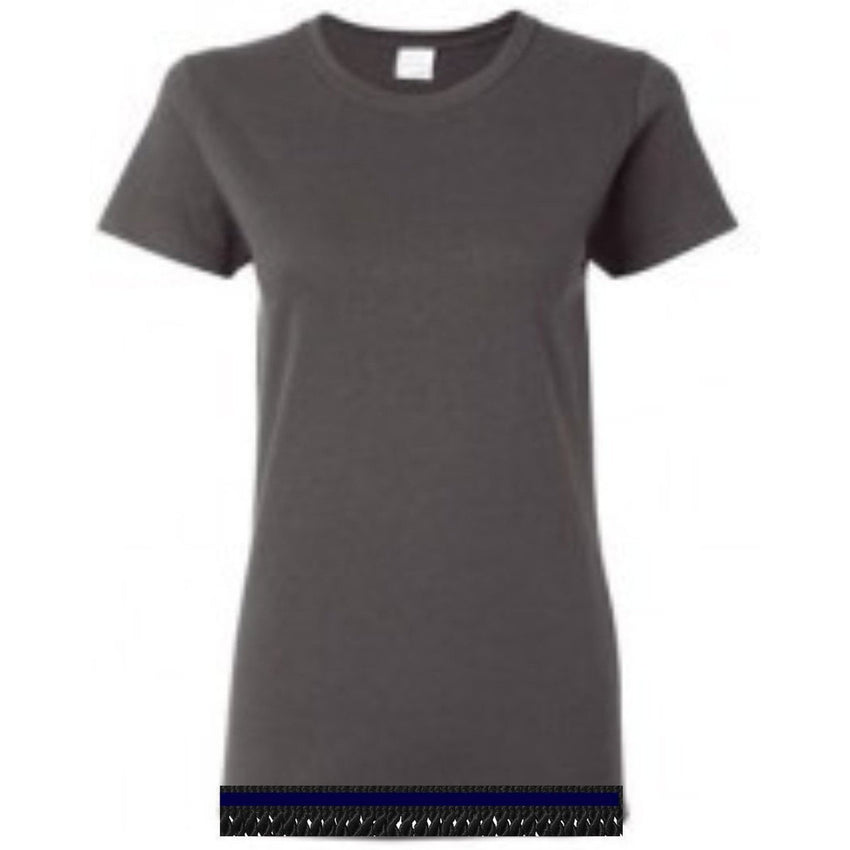 Women's Charcoal Short Sleeve T-shirt With Fringes