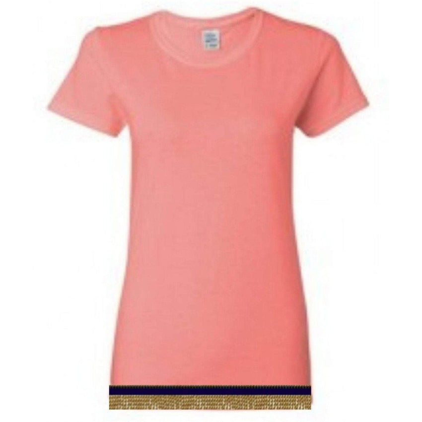 Short Sleeve Women's Coral T-shirt With Fringes