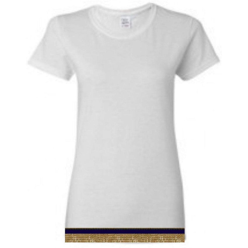 Women's White Short Sleeve T-shirt With Fringes