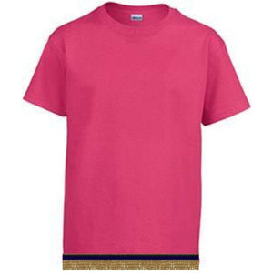 Short Sleeve Youth Girls Hot Pink T-shirt With Fringes