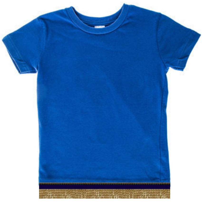 Short Sleeve Toddler Girls & Boys Royal Blue T-shirt With Fringes