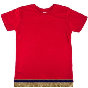 Infant Baby Girls & Boys Red Short Sleeve T-shirt With Fringes