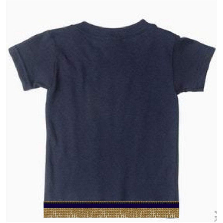 Short Sleeve Toddler Girls & Boys Navy Blue T-shirt With Fringes