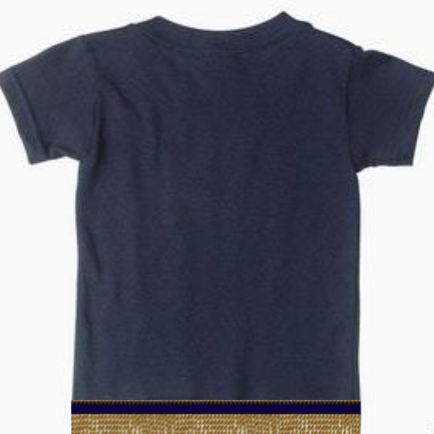 Infant Baby Girls & Boys Navy Blue Short Sleeve T-shirt With Fringes