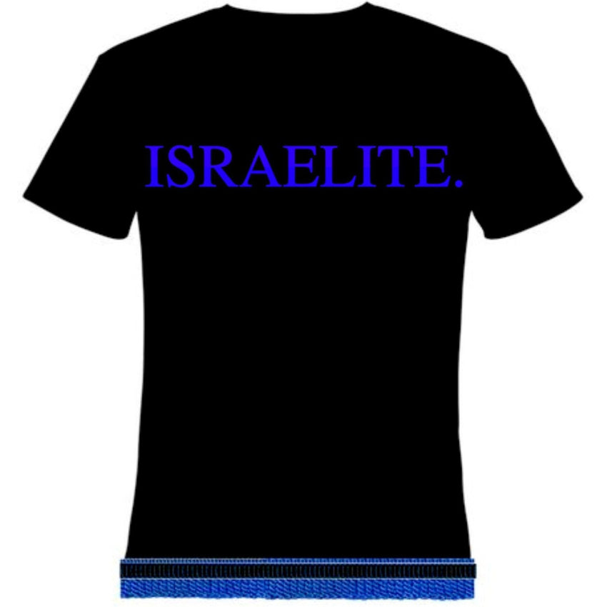Israelite Period In Royal Blue T-shirt With Fringes