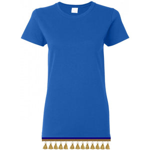 Women's Royal Blue Short Sleeve Shirt With TASSEL Fringes